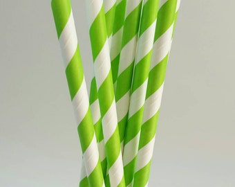 Paper Straws - green straws - striped red straws-colorful paper straws - birthday party straws - 10 count