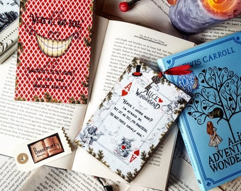 Alice in wonderland card bookmark - Handmade