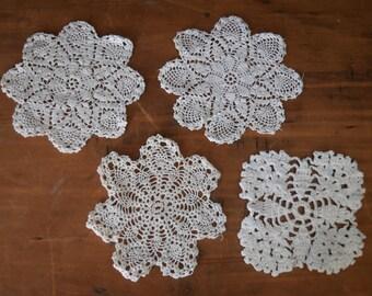 Cottage Style Doily Set - Crochet Doily Set - Rustic Home Decor