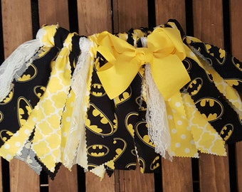 Batman theme Fabric Tutu, Girl's Scrappy Fabric Tutu, Superhero Tutu, Toddler Tutu, Black and Yellow fabric tutu