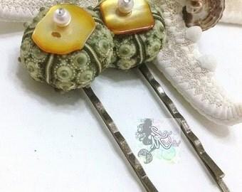 Green Sputnik Sea Urchin Shell Hair Pin SET/mermaid hair accessories/pearl hair pin/beach hair/urchin shell bobby pin/beach wedding hair
