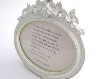 SALE**Vintage, distressed, French ornate effect picture frame to include a hand-typed quote of your choice. Mother's Day birthday wedding