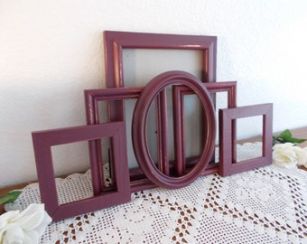Burgundy Wine Picture Frame Set Up Cycled Vintage Photo Gallery Collection Rustic Shabby Chic Fall Wedding Country Farmhouse Home Decor Gift
