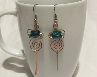 Copper and Silver Dangle Earrings; Recycled Water Bottle Beads