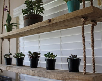Rope and wood hanging shelves - reclaimed wood shelving - home decor - display shelves