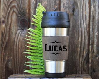 Travel mug, Leather Travel Mug, Leather Coffee Mug, Personalized Travel Mug, Personalize Coffee Mug, Coffee Mug, Custom Mug, Gift for him