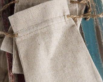 """Linen Drawstring Bags 3-12"""" Pack of 12 Bags Multiple Sizes Available"""