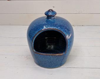 Stoneware Salt Pig in Blue Glaze
