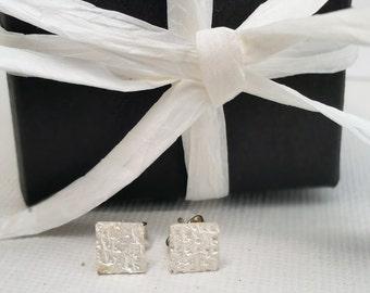 Silver Earstuds. Women's earrings. Textured Studs