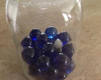 Cobalt blue vintage glass marbles