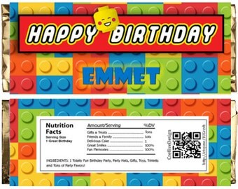 Lego Themed Chocolate Bar Wrappers. Download Customize Print Lego Chocolate Bar Wrappers Lego Chocolate Bar Wraps 1.5 oz 43g
