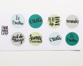 Handlettered planner stickers: sea colors
