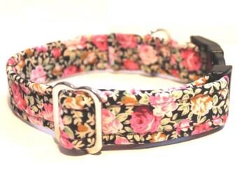 Dog Collar Floral Black Rose