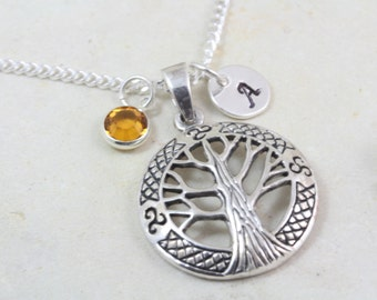Family Tree Necklace including two initial charms, Sterling silver Tree of Life Necklace initials, Silver Mother Grandma Necklace 2114