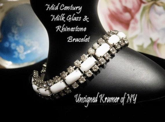 Kramer Rhinestone Bracelet / Milk Glass