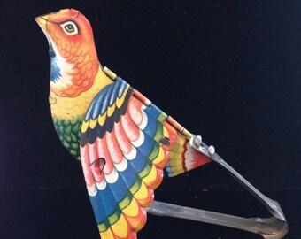 Antique Tin lithograph toy bird