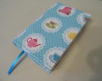 SALE. Tea Party Handmade Fabric Book Cover