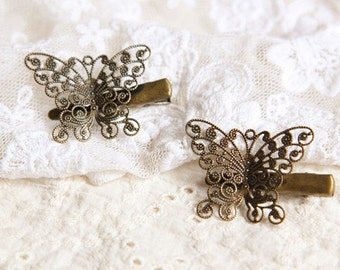 unique hair clip antique Butterfly Hair Clip Womens Hair Accessories retro HairPin Copper Bronze Butterfly