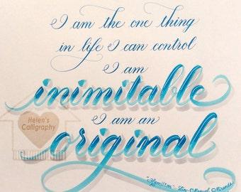 "Broadway Musical Hamilton Calligraphy Art Poster ""Inimitable"""