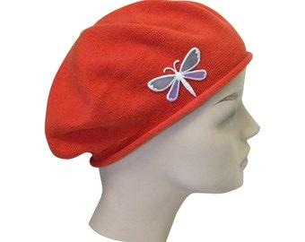 Ladies Rust Beret Hat a Dragonfly Applique Stylish Fashionable Comfortable Cotton Womens Hat Ladies Beret