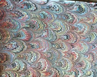 Marbled Paper Made with Natural Earth Pigments Colors