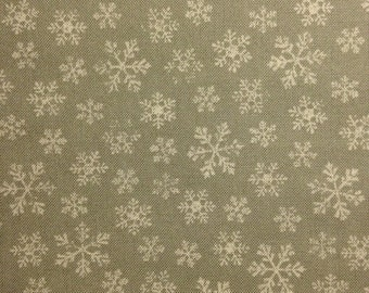 White Snowflakes on Light Gray Background, Joyeux Noel  by French General for Moda Fabrics, 100% Cotton