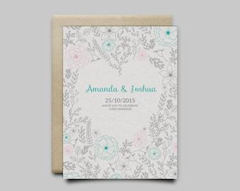 Floral Sketch Folded Wedding Invitation card