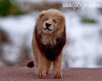 Lion needle felted