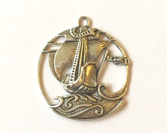 Large Ship On The Open Ocean 3D Antique Silver Tone Pendant 45 x 40 mm | Necklace Pendant Charm | 105-Tib