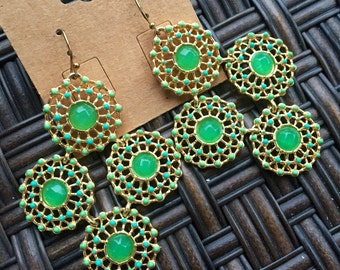 Gold and Green Filigree Chandelier Earrings