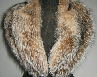 Luxury gift/Fox Fur/ Brown grey Collar  Women's/wedding or anniversary present