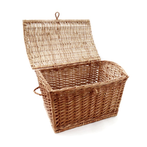 Wicker Laundry Basket With Lid Bin With Handles Hamper Washing