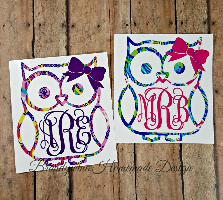 cute owl monogram car decal vinyl decal yeti cup monogram