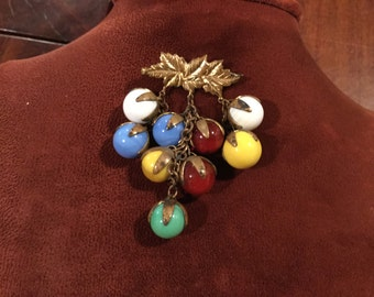 Vintage 30's - 40's Glass MARBLES Dangle Brooch Pin