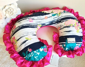 Lavish Flowerful Dandle Nursing Pillow Cover, Nursing Pillow Cover, Soft Minky Reverse, Personalize your cover