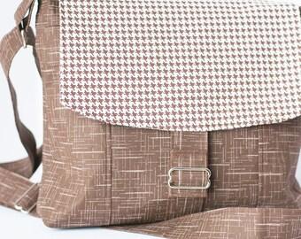 Chocolate Brown Houndstooth Messenger Shoulder Bag, Messenger Bag