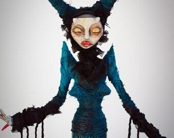 Ooak horror artdoll witch sculpture