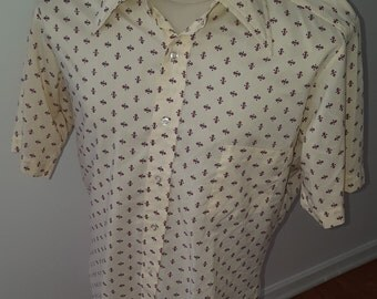 Vintage Retro 70's 80's Men's size 15 1/2 (M/L) Short Sleeve geometric graphic button up shirt