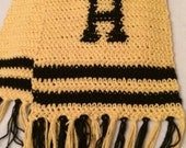 Harry Potter Crochet Winter Scarf in House Colours//Gryffindor//Slythern//Ravenclaw// Hufflepuff shown