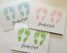 Set of 10 Cute Twin Baby Shower Thank You Baby Feet Cards Baby Feet Footprints- Handmade