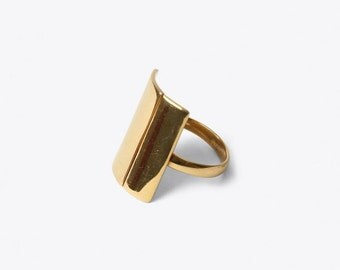 Statement Ring for Middle Finger, gold plated