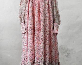 1970s Romantic Floral Pink Maxi Dress  Size XS