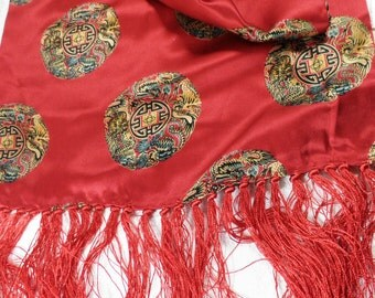 Vintage Scarlet Silk Scarf with Chinese Design