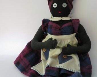 Handmade Black Mammy (Mammie) Rag Doll