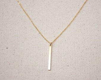 Gold Bar Layering Necklace / Dainty Vertical Bar Necklace / Bridesmaid/Birthday Gift Idea