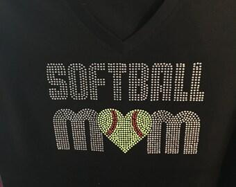 Rhinestone Softball Mom Tee