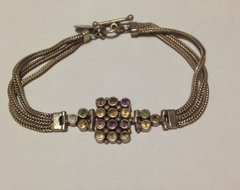 Beautiful 7 1/2 inch sterling silver amethyst, citrine, and peridot bracelet