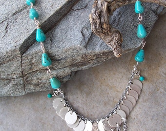 Sterling silver and Chinese Turquoise Gypsy Boho Necklace