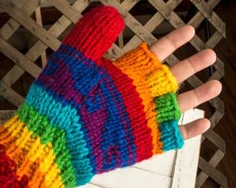 Wool Mittens, Convertible Mittens, Fingerless Mittens, Wool Gloves, Hand Knit Mittens, Hand Knit Gloves