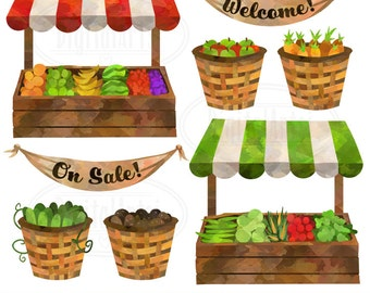 Farmer's Market Clipart - Watercolor Market Stalls Download - Instant Download - Vegetable and Fruit Stalls and Baskets